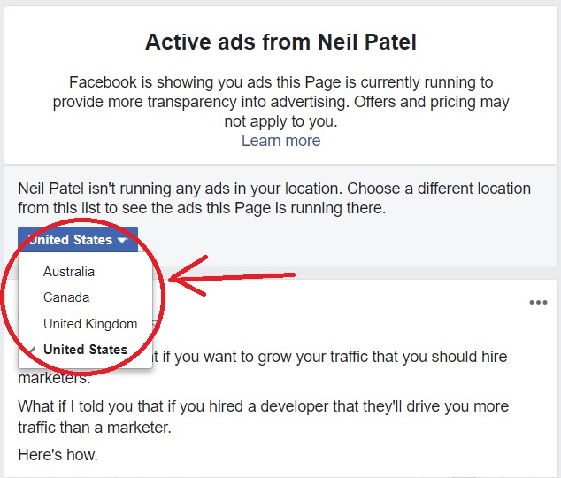 Facebook view ads feature choose country