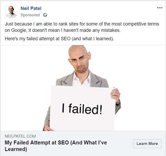 Neil Patel failure - Facebook view ads feature