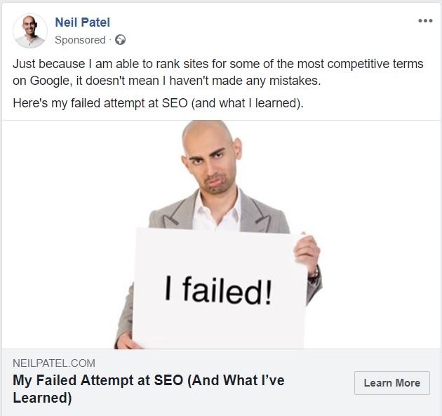 Neil Patel failure - Facebook view ads feature