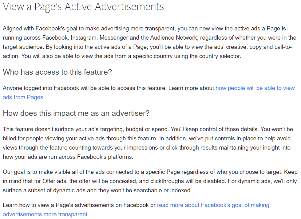 Facebook view ads feature