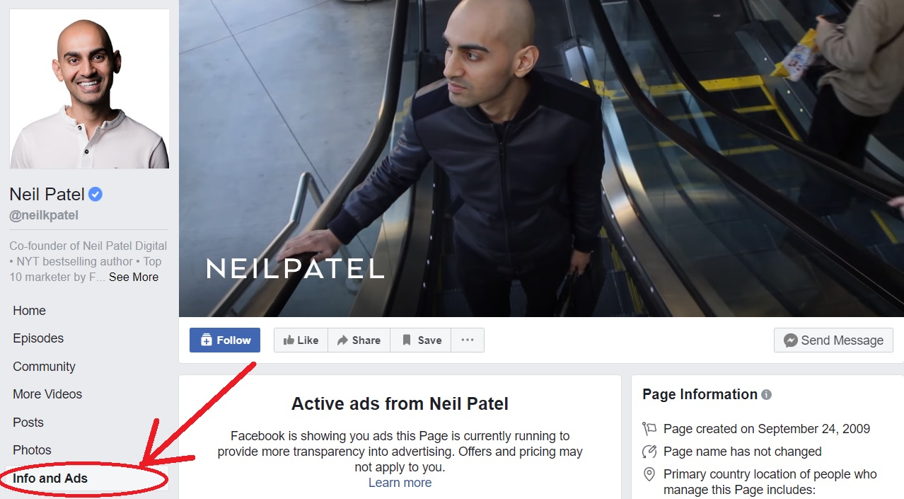 Facebook view ads feature Neil Patel