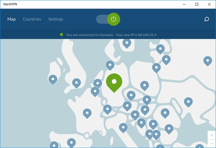 NordVPN map interface on Windows