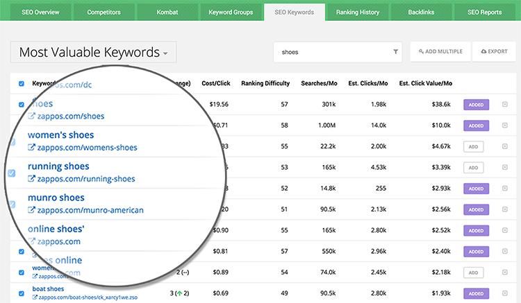 SpyFu Review - SEO and Keyword research tool - keyword report