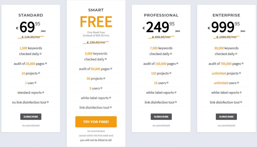 SEOprofiler review - pricing