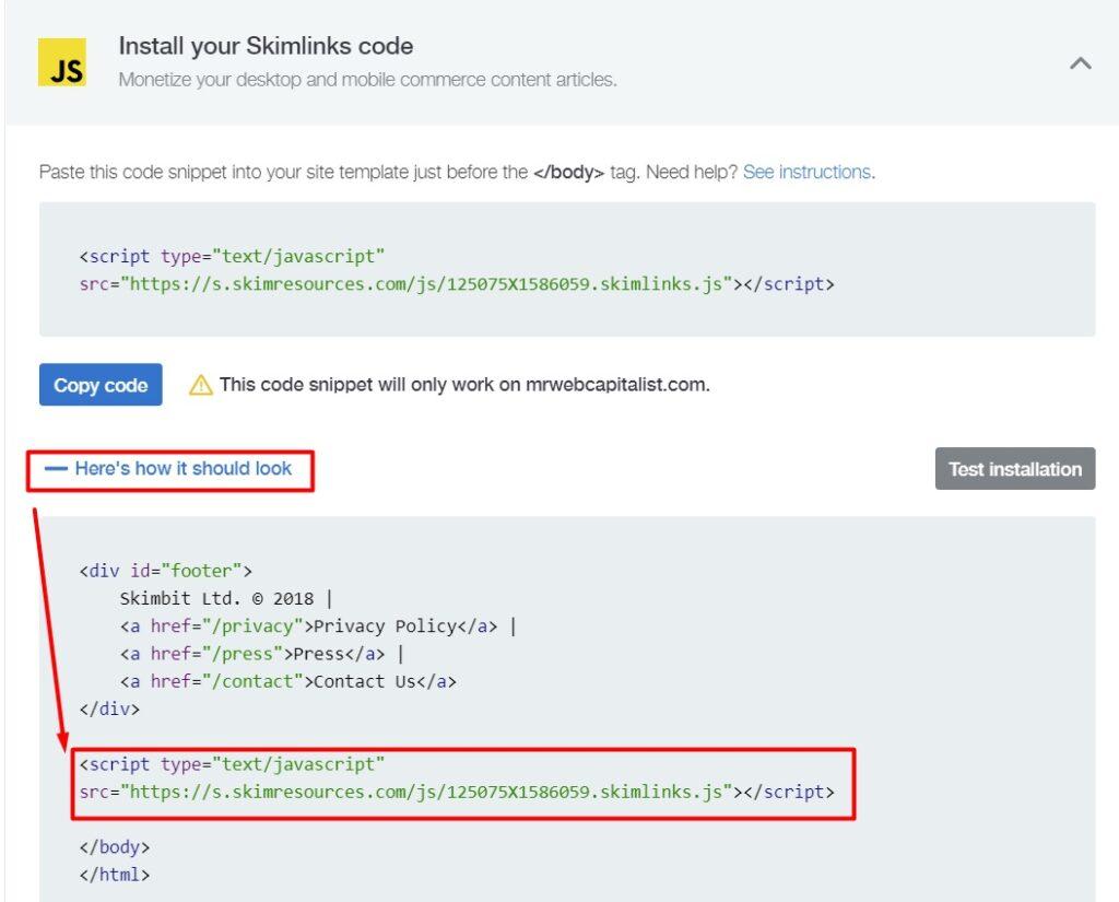 Skimlinks implementation code